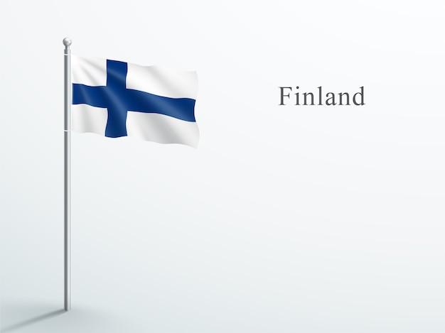 Флаг финляндии 3d элемент, развевающийся на стальном флагштоке