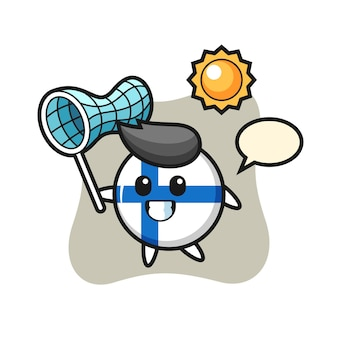 Finland flag badge mascot illustration is catching butterfly, cute style design for t shirt, sticker, logo element