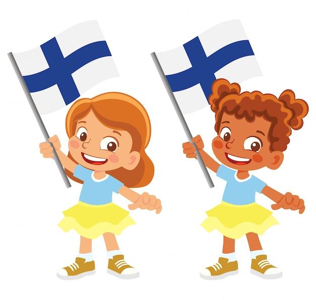 Флаг финляндии в руке