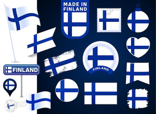 핀란드 플래그 벡터 컬렉션입니다. 평평한 스타일의 공휴일과 공휴일을 위한 다양한 모양의 국기 디자인 요소의 큰 집합입니다. 소인, 만든, 사랑, 원, 도로 표지판, 파
