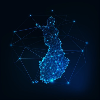 Finland map glowing silhouette outline made of low polygonal shapes.