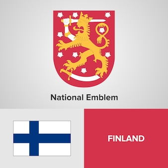 Finland national emblem and flag