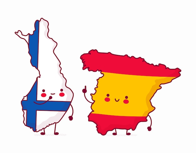 Finland and spain map illustrations