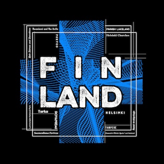 Finland tshirt and poster graphic design in abstract style vector illustration