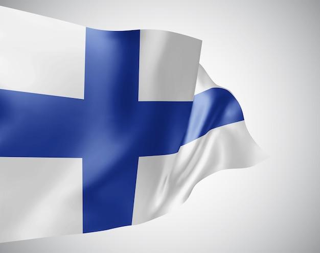 フィンランド、白い背景の上の風に手を振る波と曲がりのベクトルフラグ。