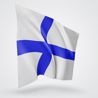 Finland, vector flag with waves and bends waving in the wind on a white background.