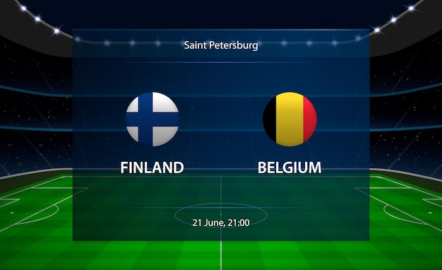 Табло футбола финляндии против бельгии.