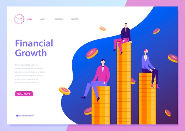 Finncial growth landing page template. men and woman sitting on coins. successful business, making money online concept with characters