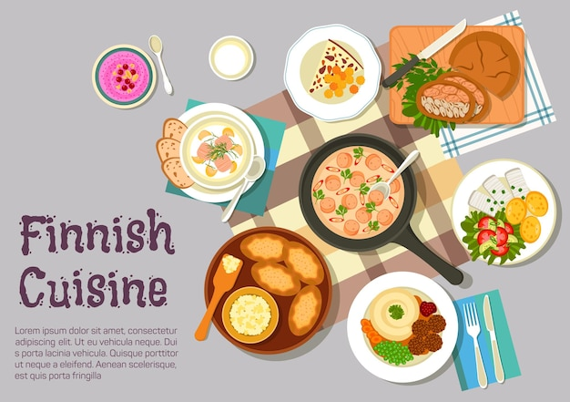 フィンランド料理フラットクリーミーソーセージソース、マッシュポテトのミートボール、ボイルドポテトと野菜サラダのニシンのピクルス、カレリアンライスパイ