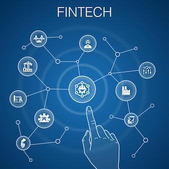 Fintechのコンセプト、青い背景。金融、テクノロジー、ブロックチェーン、イノベーションのアイコン