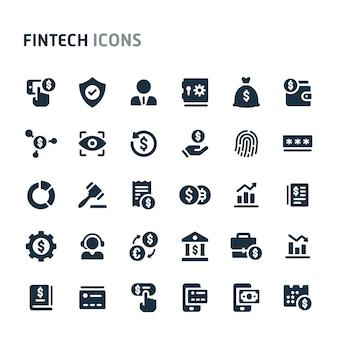 Fintechアイコンセット。 fillioブラックアイコンシリーズ。