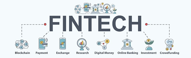 Fintech -financial technology banner web icon set