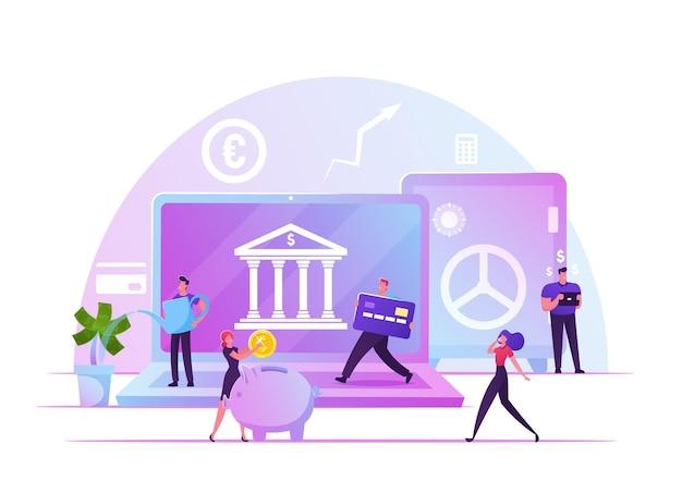 Fintech, 금융 기술, 디지털 은행 서비스 개념. 만화 평면 그림
