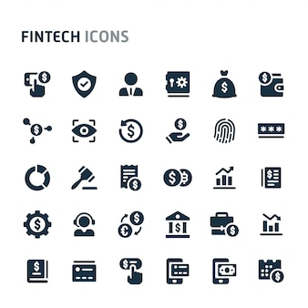 Fintech icon set. fillio black icon series. Premium векторы