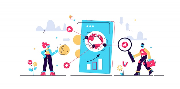 Fintech  illustration.  tiny financial technology person concept. cyberspace banking method with smartphones for mobile banking, investing services and cryptocurrency. economy money transfer