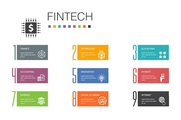 Fintechインフォグラフィック10オプションラインconcept.finance、テクノロジー、ブロックチェーン、イノベーションのシンプルなアイコン
