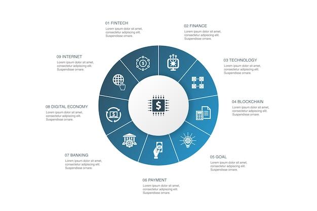 Fintechインフォグラフィック10ステップサークルdesign.finance、テクノロジー、ブロックチェーン、イノベーションシンプルなアイコン