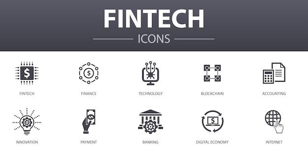 Fintechのシンプルなコンセプトアイコンを設定します。金融、テクノロジー、ブロックチェーン、イノベーションなどのアイコンが含まれており、ウェブ、ロゴ、ui / uxに使用できます
