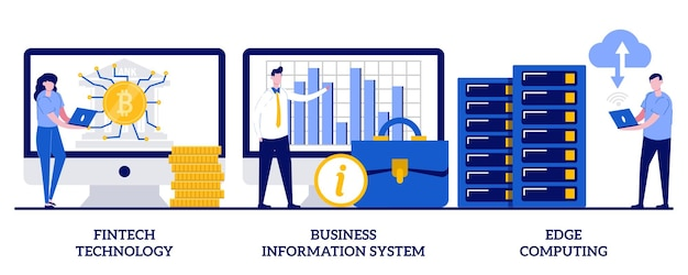 Fintech technology, business information system, edge computing concept. set of it infrastructure.