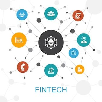 アイコンとフィンテックの流行のウェブコンセプト。金融、テクノロジー、ブロックチェーン、イノベーションなどのアイコンが含まれています