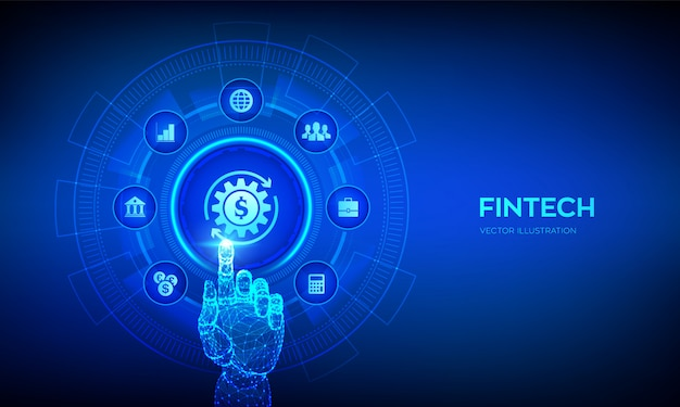 Fintech. концепция финансовых технологий, онлайн-банкинга и краудфандинга на виртуальном экране. роботизированная рука трогательно цифровой интерфейс.