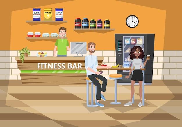 Интерьер кафе fintess center. иллюстрация здорового питания