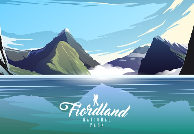 Fiordland national park. nature of new zeland. milford sound.