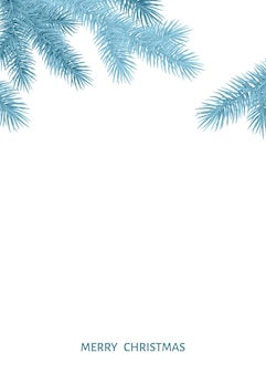 Fir  branch  in  hoarfrost on white background. silver  spruce. realistic christmas tree. vector illustration for xmas cards, banners, flyers, new year party posters.