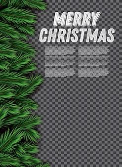 투명 한 배경에 전나무 지점입니다. 메리 크리스마스. 벡터 일러스트 레이 션.