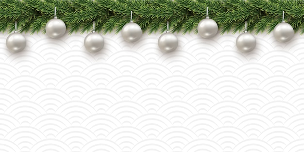 Fir branch with christmas balls on textured background horizontal seamless pattern.