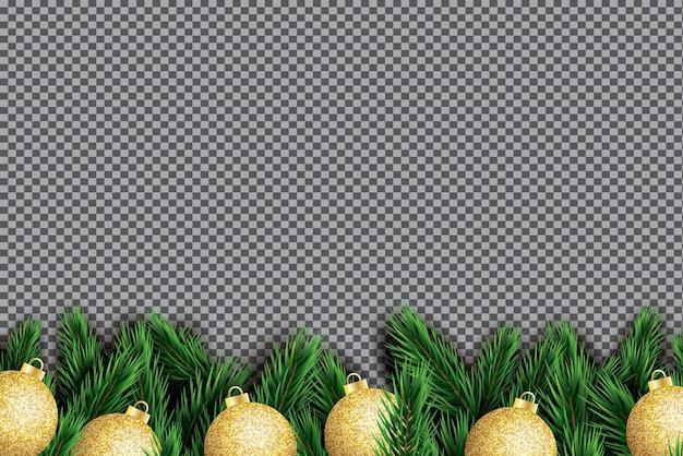 Еловая ветвь с золотыми елочными шарами на прозрачном фоне.
