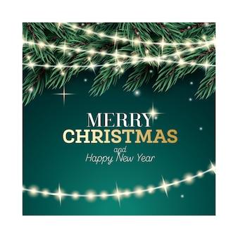 녹색 배경에 네온 갈 랜드와 전나무 지점입니다. 즐거운 성탄절 보내시고 새해 복 많이 받으세요. 벡터 일러스트 레이 션.