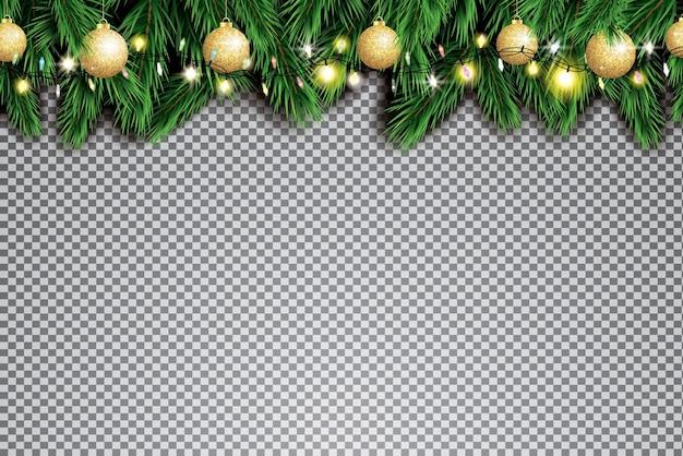 Еловая ветка с неоновыми огнями и золотыми рождественскими шарами на прозрачном фоне.