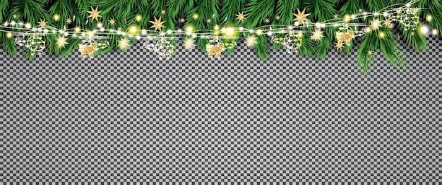 Еловая ветка с неоновыми огнями и золотой гирляндой с вертолетами на прозрачном фоне. веселого рождества и счастливого нового года. векторные иллюстрации.