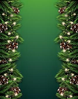Еловая ветвь с неоновыми огнями и сосновая шишка на зеленом фоне. с рождеством. с новым годом.