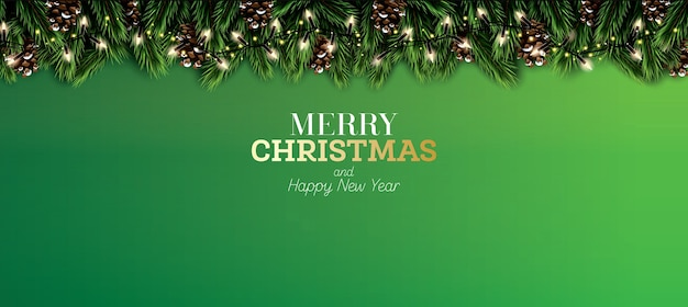 緑の背景にネオンライトと松ぼっくりのモミの枝。メリークリスマス。明けましておめでとうございます。