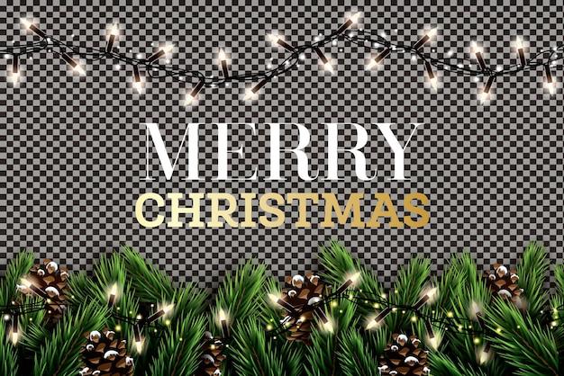 네온 불빛과 투명 한 배경에 소나무 콘 전나무 지점. 메리 크리스마스. 새해 복 많이 받으세요. 벡터 일러스트 레이 션.