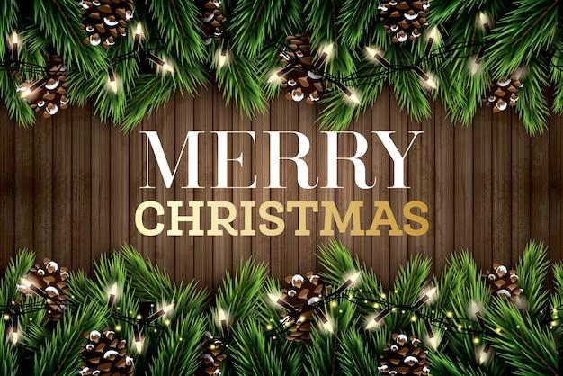 木製の背景にネオンライトと松ぼっくりのモミの枝。メリークリスマス。明けましておめでとうございます。