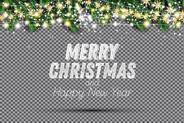 Еловая ветка с неоновыми огнями и снежинками на прозрачном фоне. веселого рождества и счастливого нового года. векторные иллюстрации.
