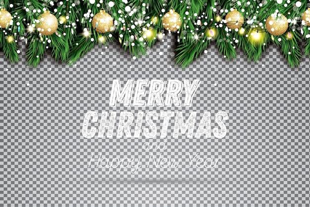 네온 불빛, 황금 크리스마스 공 및 투명 한 배경에 눈이 있는 전나무 지점. 벡터 일러스트 레이 션.