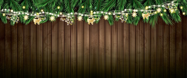 Fir branch with neon lights and golden garland with helicopters