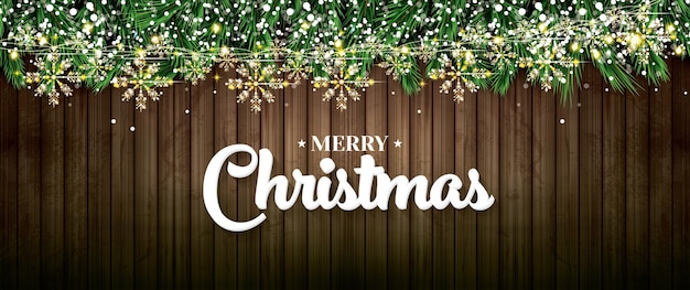 Fir branch with neon lights, golden garland with snowflakes on wooden background. merry christmas and happy new year. vector illustration.