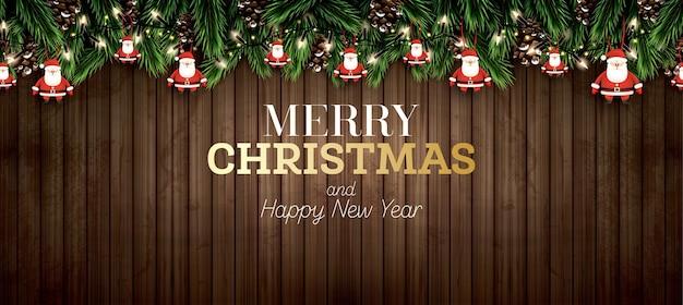 ネオンライト付きモミの枝。メリークリスマス。明けましておめでとうございます。