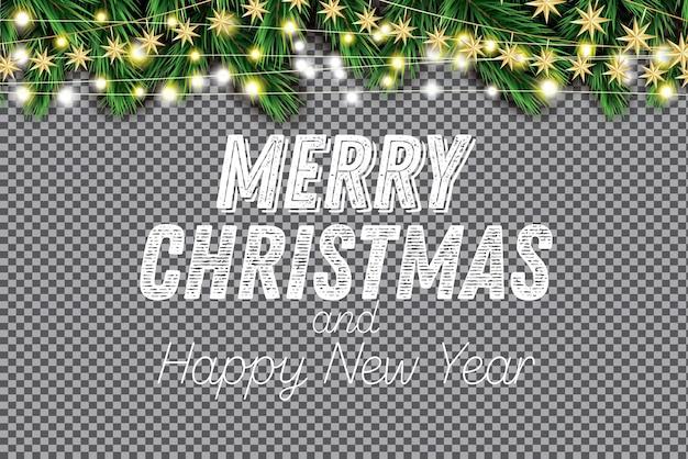 Еловая ветка с неоновыми огнями на прозрачном фоне. счастливого рождества. с новым годом. векторная иллюстрация.