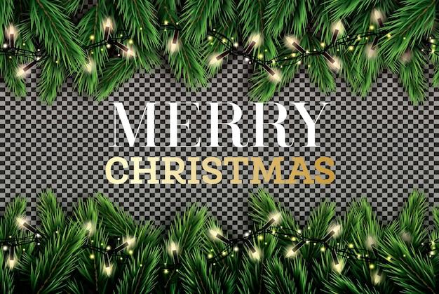 투명 한 배경에 네온 불빛과 함께 전나무 지점입니다. 메리 크리스마스. 새해 복 많이 받으세요. 벡터 일러스트 레이 션.