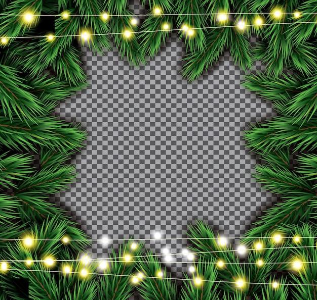 투명 한 배경에 네온 불빛과 함께 전나무 지점입니다. 벡터 일러스트 레이 션.