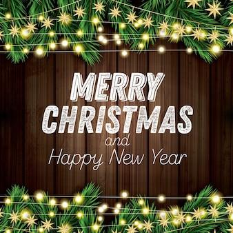 나무 배경에 네온 불빛과 함께 전나무 지점입니다. 즐거운 성탄절 보내시고 새해 복 많이 받으세요. 벡터 일러스트 레이 션.
