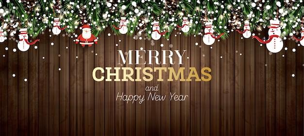 透明な背景にネオンライト、松ぼっくり、サンタクロース、雪だるまのモミの枝。メリークリスマス。あけましておめでとう。ベクトルイラスト。