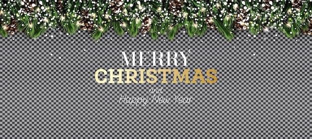 투명 한 배경에 네온 불빛, 눈송이 및 솔방울이 있는 전나무 지점. 메리 크리스마스. 새해 복 많이 받으세요. 벡터 일러스트 레이 션.