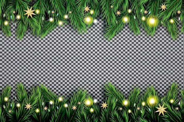 Fir branch with neon lights and stars on transparent background.